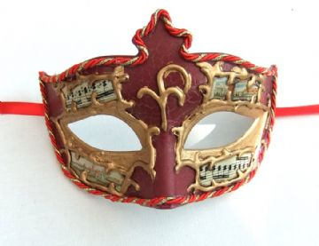 Venetian style Gents Red & Gold crackle music eye mask
